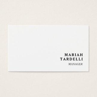 Witte Minimalistische Elegante Elegante Vlakte Visitekaartjes