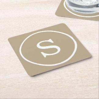Witte Monogram van de Kleur van Latte van de Vierkante Onderzetter