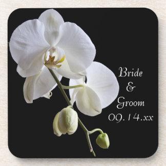 Witte Orchidee op Zwart Huwelijk Onderzetters