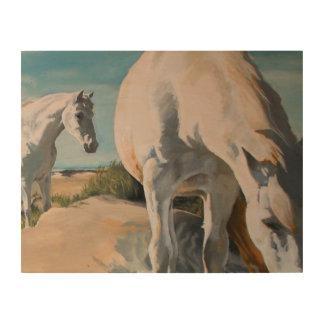 Witte Paarden op het strand Hout Afdruk