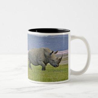 Witte Rinoceros en ver Kleinere Flamingo's, Tweekleurige Koffiemok