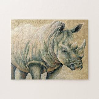 Witte Rinoceros Puzzel