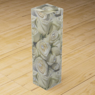 witte rozen en parelswijndoos