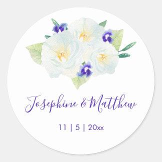 Witte Rozen & het Violette Huwelijk van Bloemen Ronde Sticker