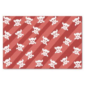 Witte Schedel en Gekruiste knekels op Rode Strepen Tissuepapier