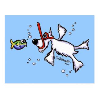 Witte Schnauzer die onder Blauw Zee snorkelen Briefkaart
