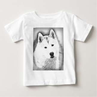 Witte Siberische Schor met de Blauwe Schets van de Baby T Shirts