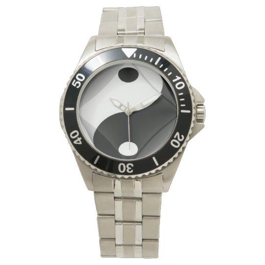 Witte Stalen Yin Yang Horloge van N.A.