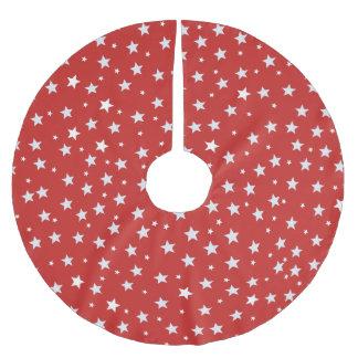 Witte Sterren op Rood Kerstboom Rok
