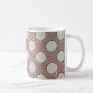 Witte Stippen op de Druk van het Leer Taupe Koffiemok
