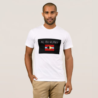 Witte t-shirt met naam al-bu-KUKRY en symbool