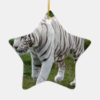 Witte Tijger Keramisch Ster Ornament