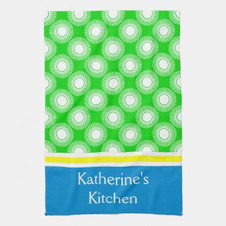 Witte Uitbarstingen op Groen met Geel en Blauw Keukenhanddoek