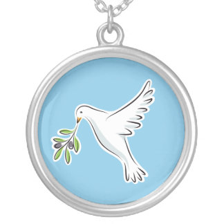Witte vredesduif met het blauwe ketting van de