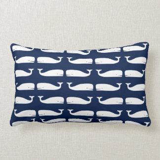 Witte Walvissen op Marineblauw Zeevaart Lumbaal Lumbar Kussen
