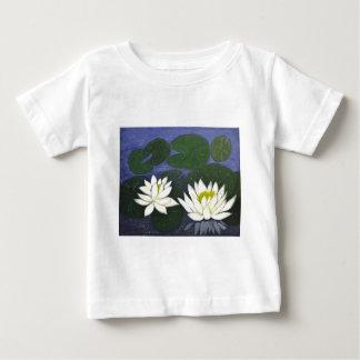 Witte Waterlily Bloemen, het Acryl schilderen Baby T Shirts