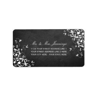 Witte Wervelingen op de Etiketten van het Huwelijk Addressticker