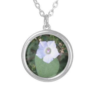 Witte wilde bloem zilver vergulden ketting