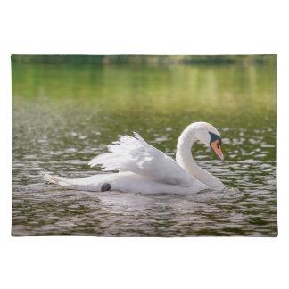 Witte zwaan op een meer placemat