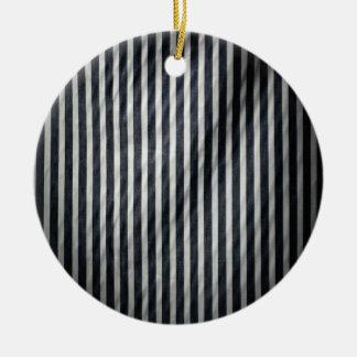 Witte & Zwarte Magere Verticale Krijtstrepen Rond Keramisch Ornament