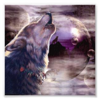 Wolf die bij de Maan huilen Foto Print
