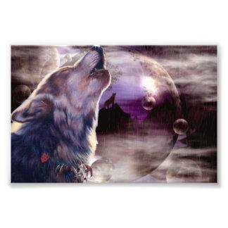 Wolf die bij de Maan huilen Foto Kunst