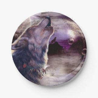 Wolf die bij de Maan huilen Papieren Bordjes