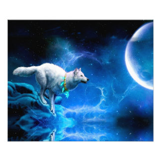 Wolf en Maan Fotografische Afdruk