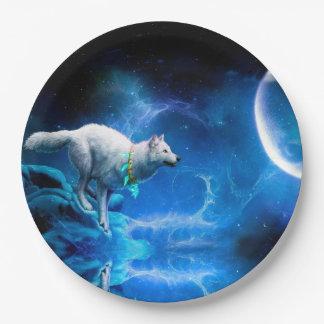 Wolf en Maan Papieren Bordjes
