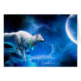 Wolf en Maan Wenskaart