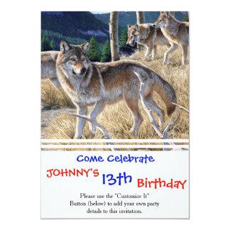 Wolf in de winterbos 12,7x17,8 uitnodiging kaart