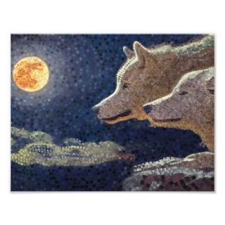 Wolven en de kunst van het maanmozaïek - druk foto afdrukken