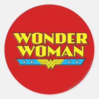Wonder de Naam en het Logo van de Vrouw Ronde Sticker