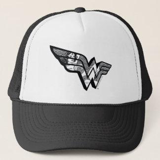 Wonder de Zitting van de Vrouw in het Hoekige Logo Trucker Pet