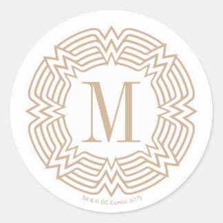 Wonder het Griekse Patroon van de Vrouw Ronde Sticker