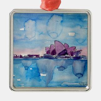 Wonder van Downunder Sydney Zilverkleurig Vierkant Ornament