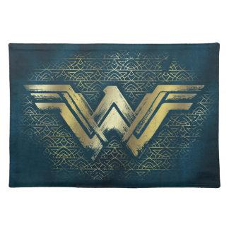 Wonder Vrouw Geborsteld Gouden Symbool Placemat