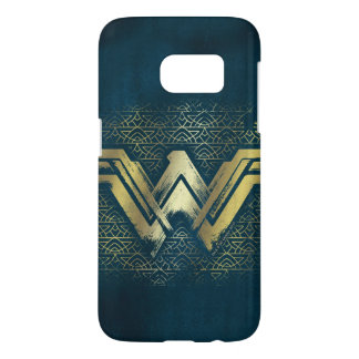 Wonder Vrouw Geborsteld Gouden Symbool Samsung Galaxy S7 Hoesje