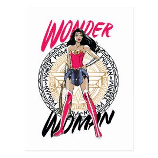 Wonder Vrouw met Grieks StammenEmbleem Briefkaart