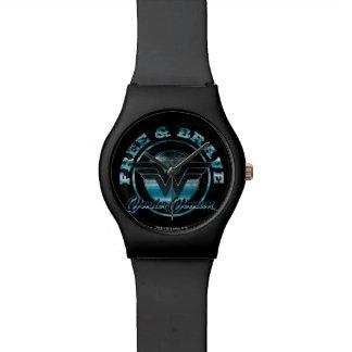 Wonder Vrouw Vrije & Moedige Grafische Grunge Horloge