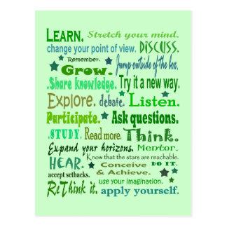 Woorden van wijsheidscollage briefkaart