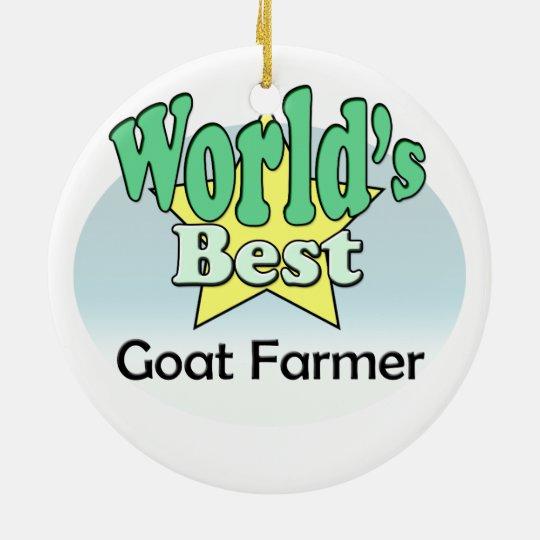 World's best Goat Farmer Rond Keramisch Ornament