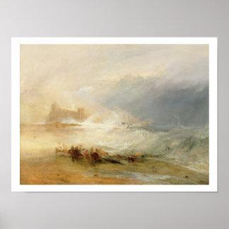 Wreckers - Kust van Northumberland, met een Stoom  Poster