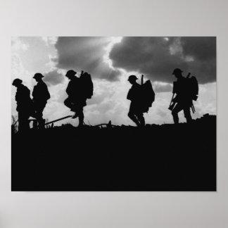 WW1 de Silhouetten van de militair - Slag van Poster