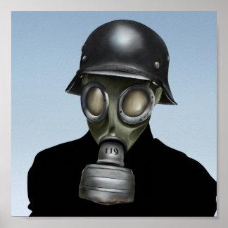 WW2 Duits Gasmasker - 8x8 de Druk van de Kunst van Poster