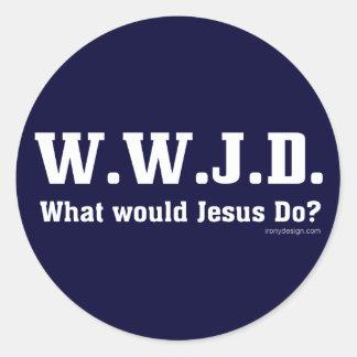 WWJD? Wat zou Jesus doen? Ronde Sticker
