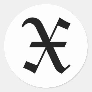 X-tekst het Oude Engels Ronde Sticker