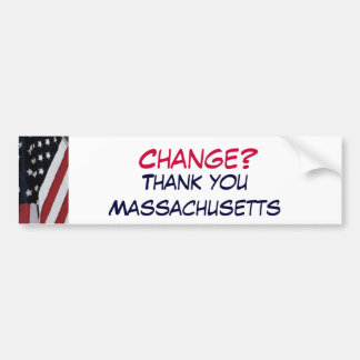 XG- verandering? , Dank u Massachusetts Bumpersticker