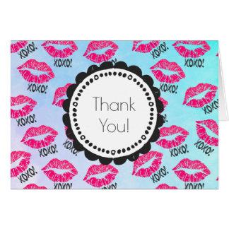 XOXO! Het patroon met Sexy Roze Lippen Kissy dankt Wenskaart