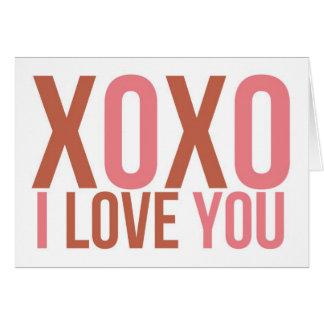 XOXO I HOUDT van U Roze & Rood Typografisch Briefkaarten 0